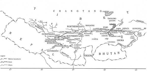 Map showing Chokyi Dronma's homeland