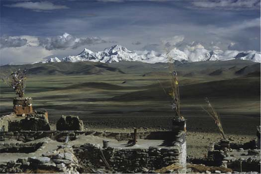 Porong landscape with Mount Shishapangma seen from Palmo Choding Monastery