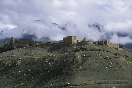 Dzongkha, the capital of the Gungthang kingdom, with the ruins of the royal palace.