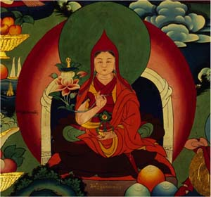Detail: Chokyi Dronma depicted in the modern mural painting at Samding Monastery.