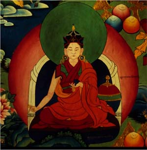 Detail: Kungma Sangmo, reincarnation of Chokyi Dronma depicted in the modern mural painting at Samding Monastery.