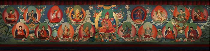 The Lineage of the Samding Dorje Phagmo depicting all the reincarnations of the Dorje Phagmo surrounding the founder of the Bodongpa tradition (Bodong Chogle Namgyal), the teacher and main tantric partner of Chokyi Dronma. This is a modern mural painting