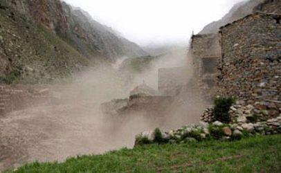 Glacial lake outburst flood (GLOF) descending on Limi village, Nepal Credit: Astrid Hovden